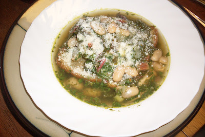 White beans and a cilantro broth, makes for a delicious soup.
