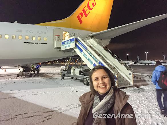 uçuş günümüzde karlar altındaki İstanbul sürprizi, Sabiha Gökçen İstanbul