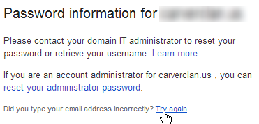Please contact your domain IT administrator to reset your password