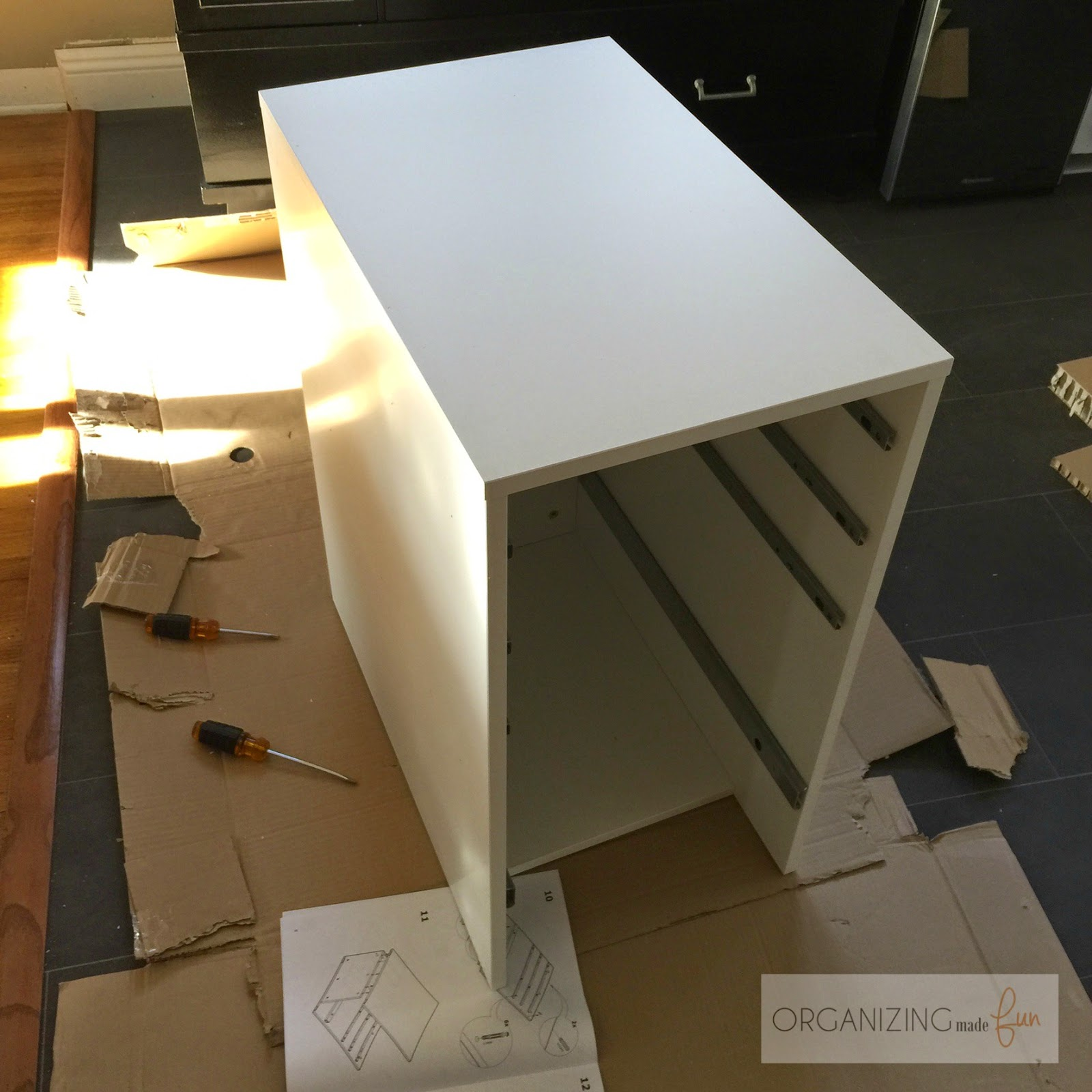 Halfway through putting furniture together for my home office :: OrganizingMadeFun.com