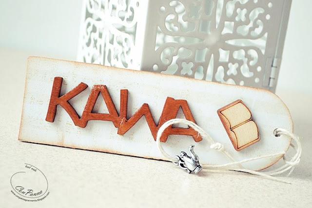 zakładka do kaiązki ozdobiona napisem Kawa