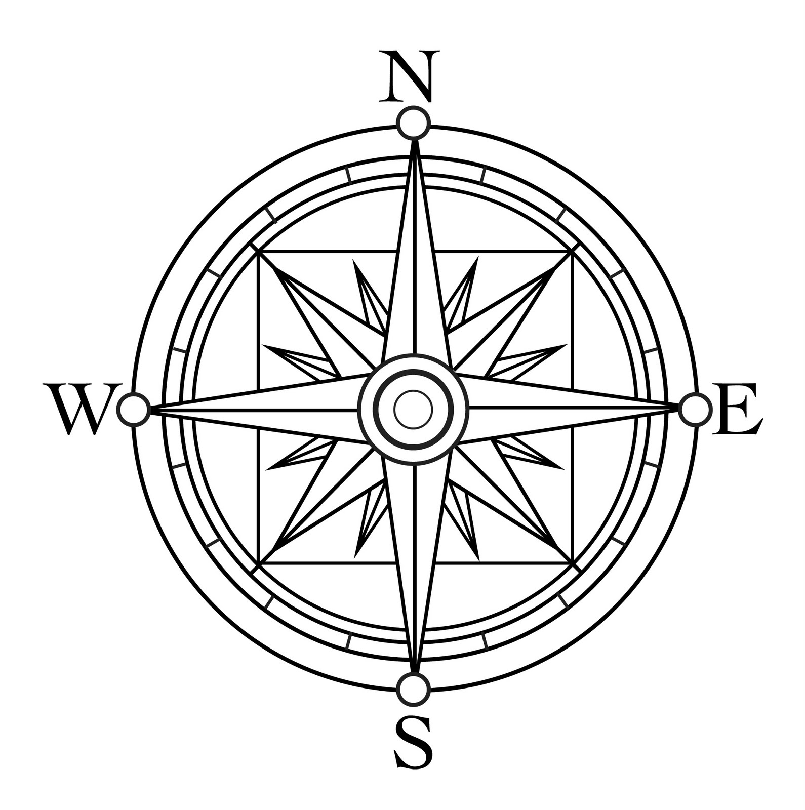 Compass Tattoo Coloring Pages
