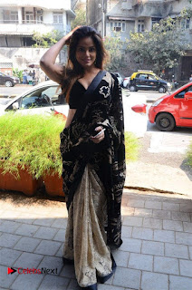 Actress Neetu Chandra Stills in Black Saree at Designer Sandhya Singh's Store Launch  0031.jpg