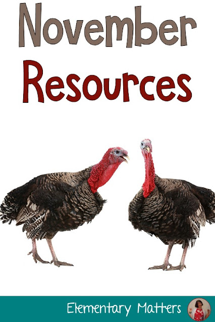 November Resources: Suggestions and resources for Election Day, Veterans Day, and Thanksgiving Day, including 5 freebies!