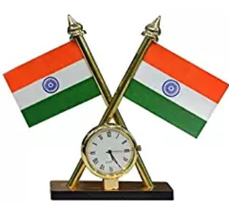 Indian Flag with watch for Car Dashboard
