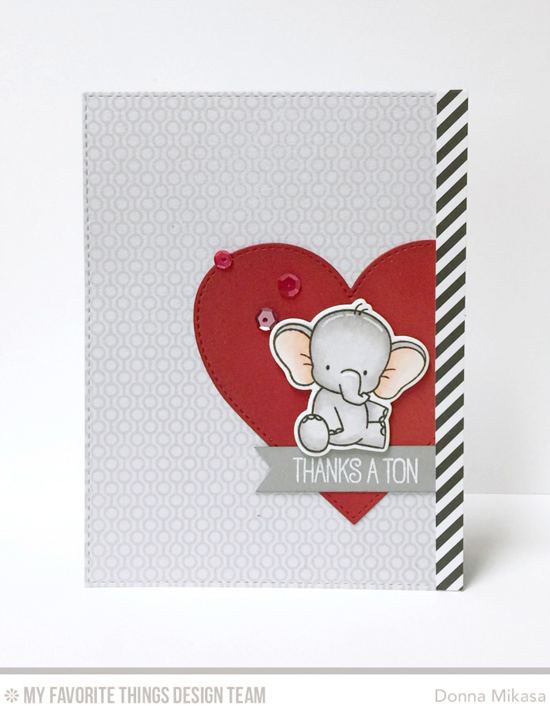 Handmade card from Donna Mikasa featuring  Birdie Brown Adorable Elephants stamp set and Die-namics, Lined Up Dots Background stamp, and Stitched Heart STAX and Blueprints 25 Die-namics #mftstamps