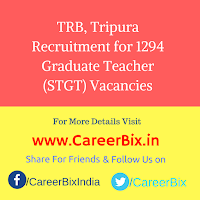 TRB, Tripura Recruitment for 1294 Graduate Teacher (STGT) Vacancies