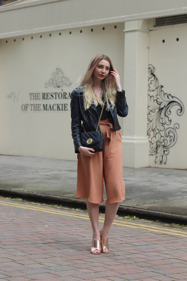 missguided peach culottes fashion