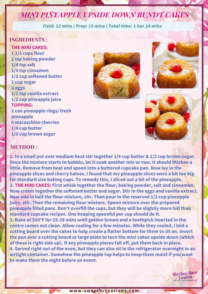 MINI PINEAPPLE UPSIDE DOWN BUNDT CAKES RECIPE
