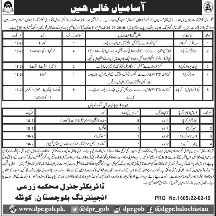 Jobs in Agricultural Engineering  Department Quetta