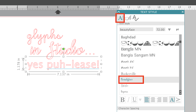 special font characters silhouette studio v4