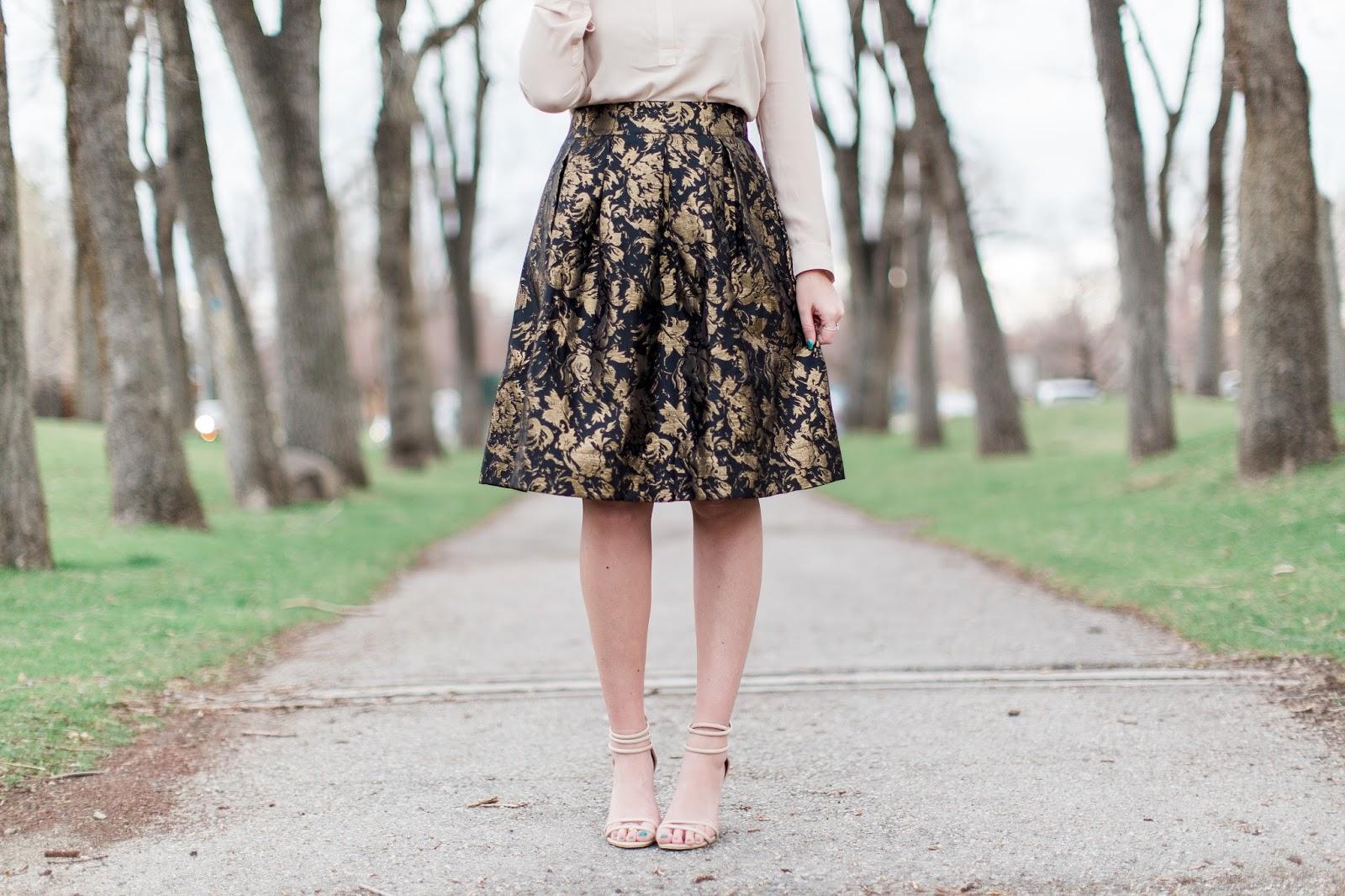 Nude heels, Jacquard skirt, Modesty