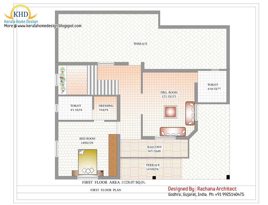 Duplex house plan and elevation 2741 sq ft kerala for Duplex house floor plan