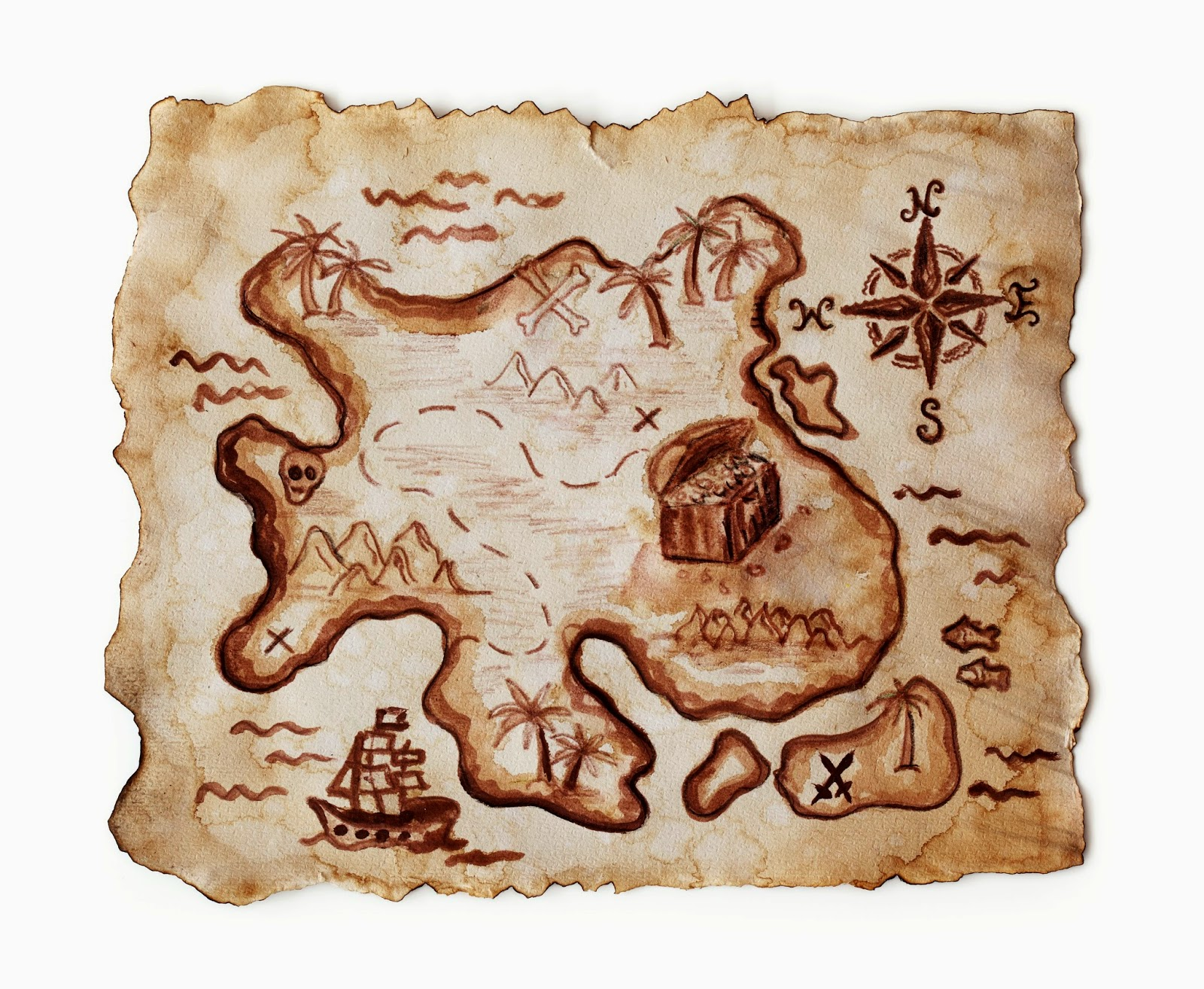 A map marks the way to buried treasure.