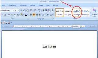 Cara Membuat Daftar Isi Titik-Titik Ms Word 2007