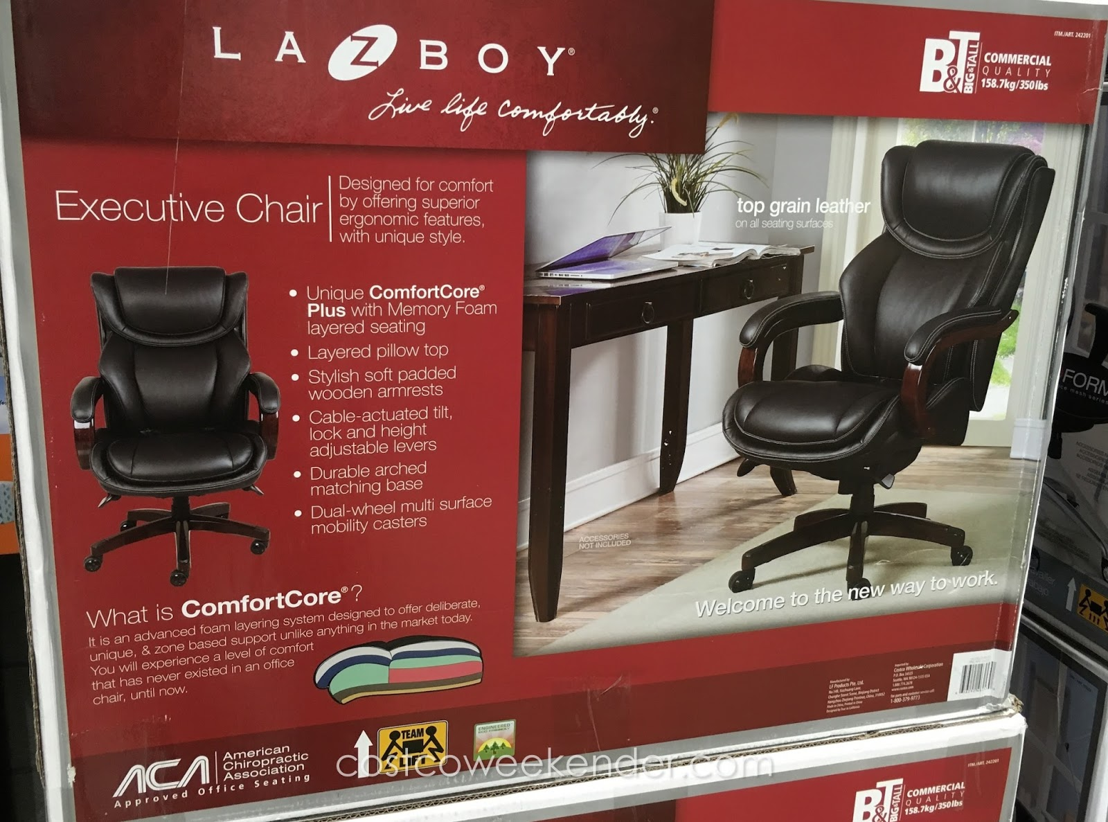 la z boy big tall executive leather office chair black beach umbrella with clamp top grain costco weekender