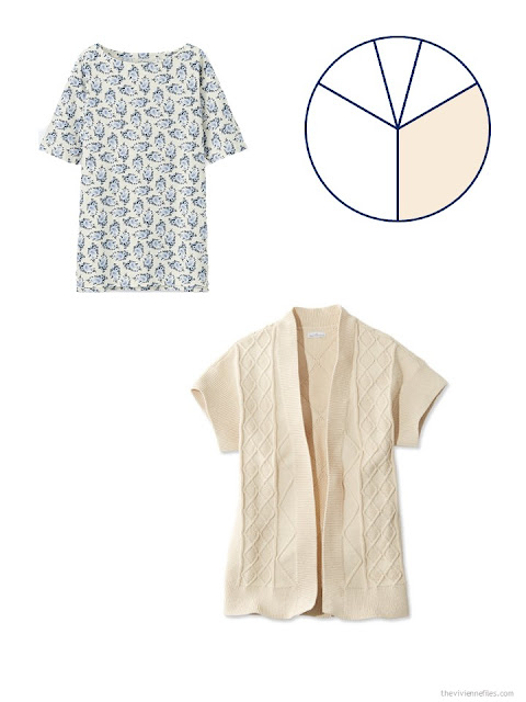 a floral tee shirt and a short-sleeved cardigan in beige, for a warm-weather travel capsule wardrobe