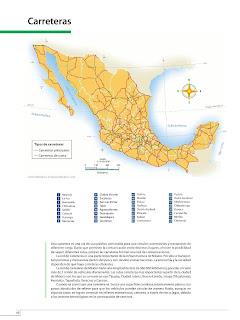 Apoyo Primaria Atlas de México 4to Grado Bloque III Lección 1 Carreteras