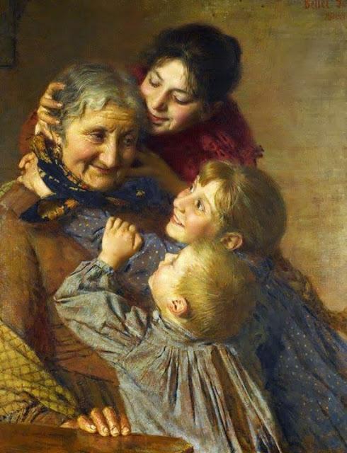 Quadro con la nonna abbracciata dai nipoti e dalla loro mamma.