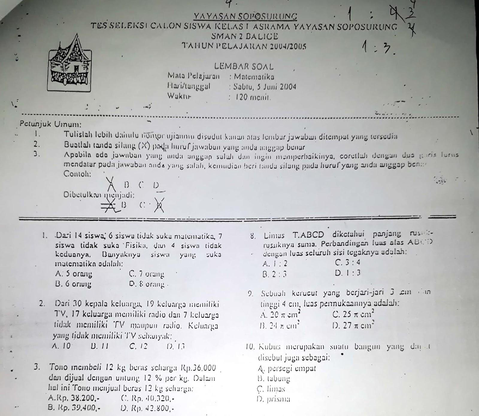 Matematika SMP, Soal Seleksi Akademik Masuk SMAN 2 Balige (Asrama YASOP) 2004