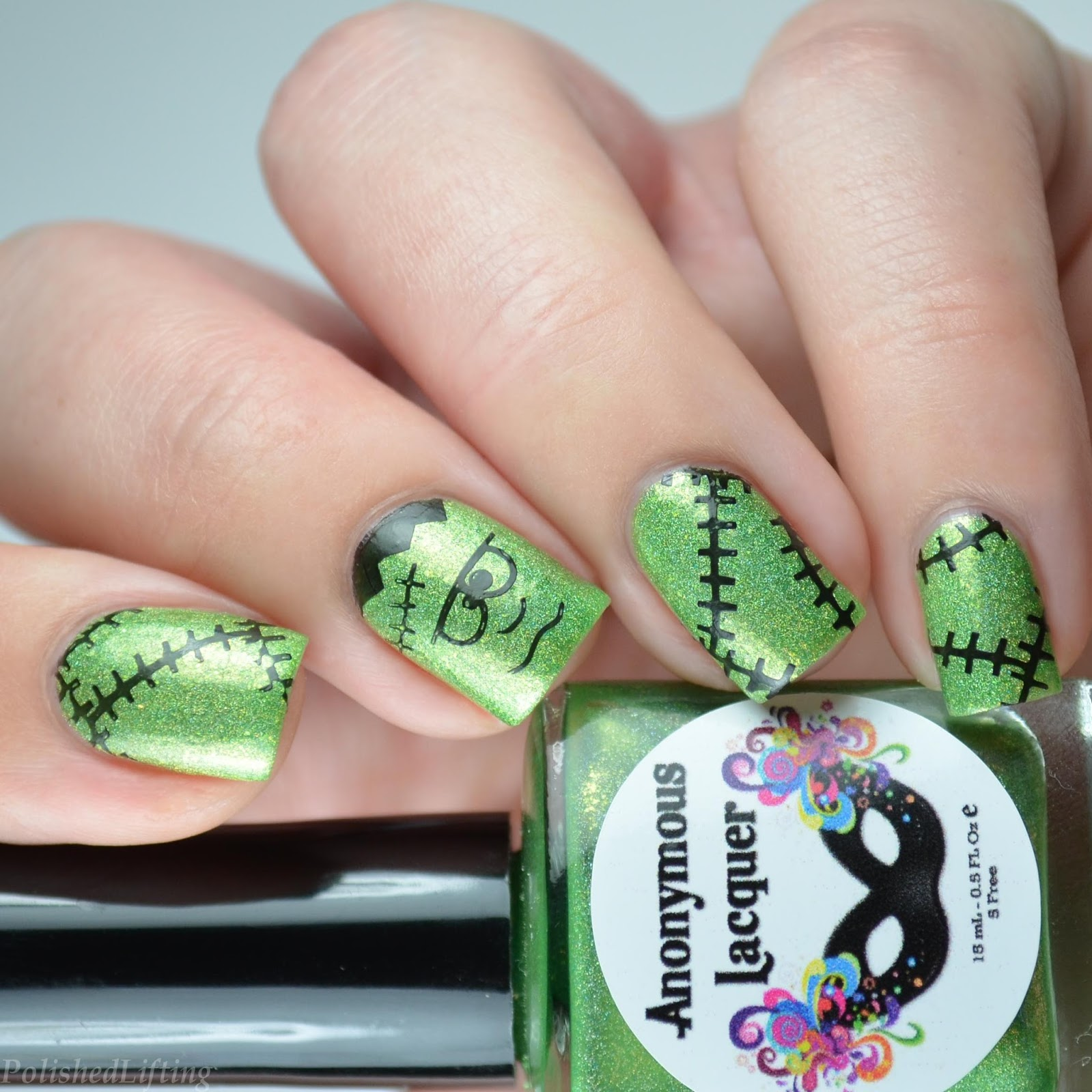 Polished Lifting Frankenstein Halloween Nail Art Featuring