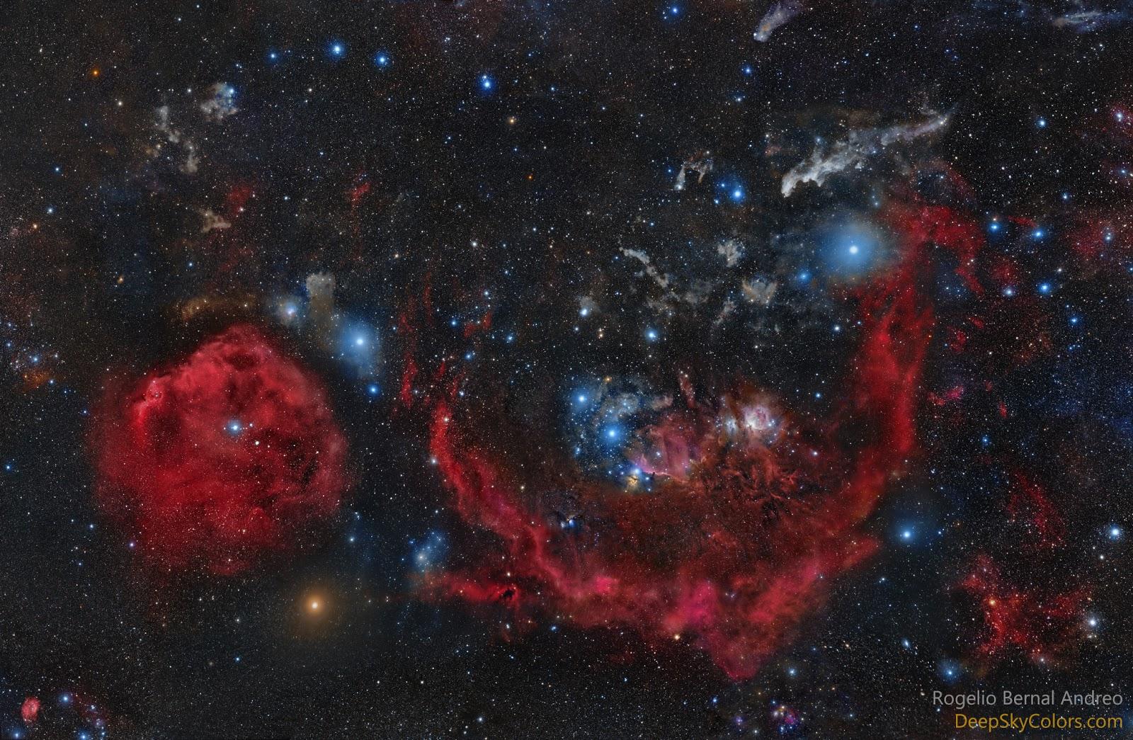 Chòm sao Orion và những ngôi sao cùng các thiên thể. Hình ảnh: Rogelio Bernal Andreo.