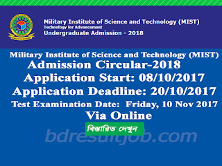 Military Institute of Science and Technology (MIST) Admission Undergraduate Test Circular 2018