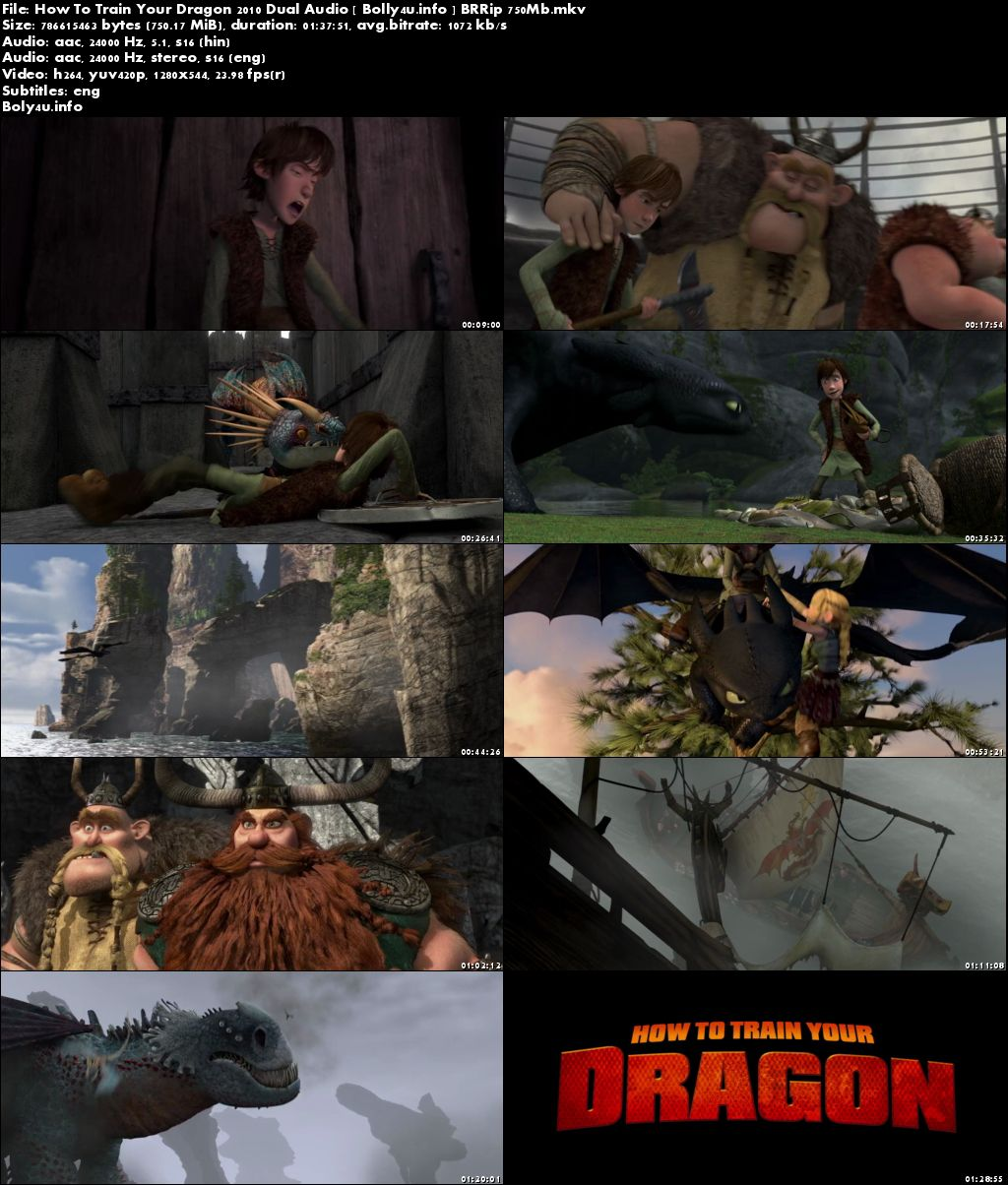 How To Train Your Dragon 2010 BRRip 300MB Hindi Dual Audio 480p Download