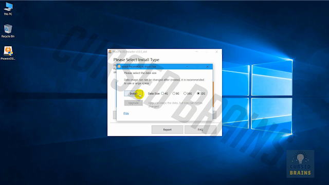 Phoenix OS - Drive size click install