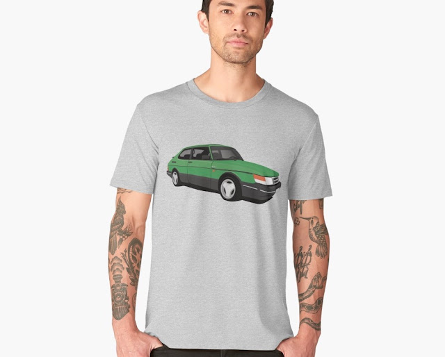 Green Saab 900 Turbo t-shirt