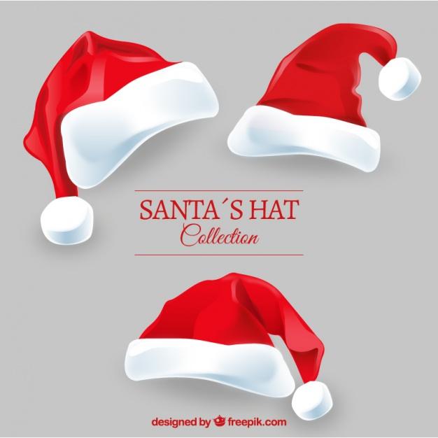 Santa claus hats pack Free Vector