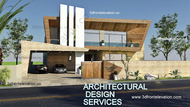Beautiful 2 Kanal House Plan + 3D Front Elevation - VALENCIA TOWN,