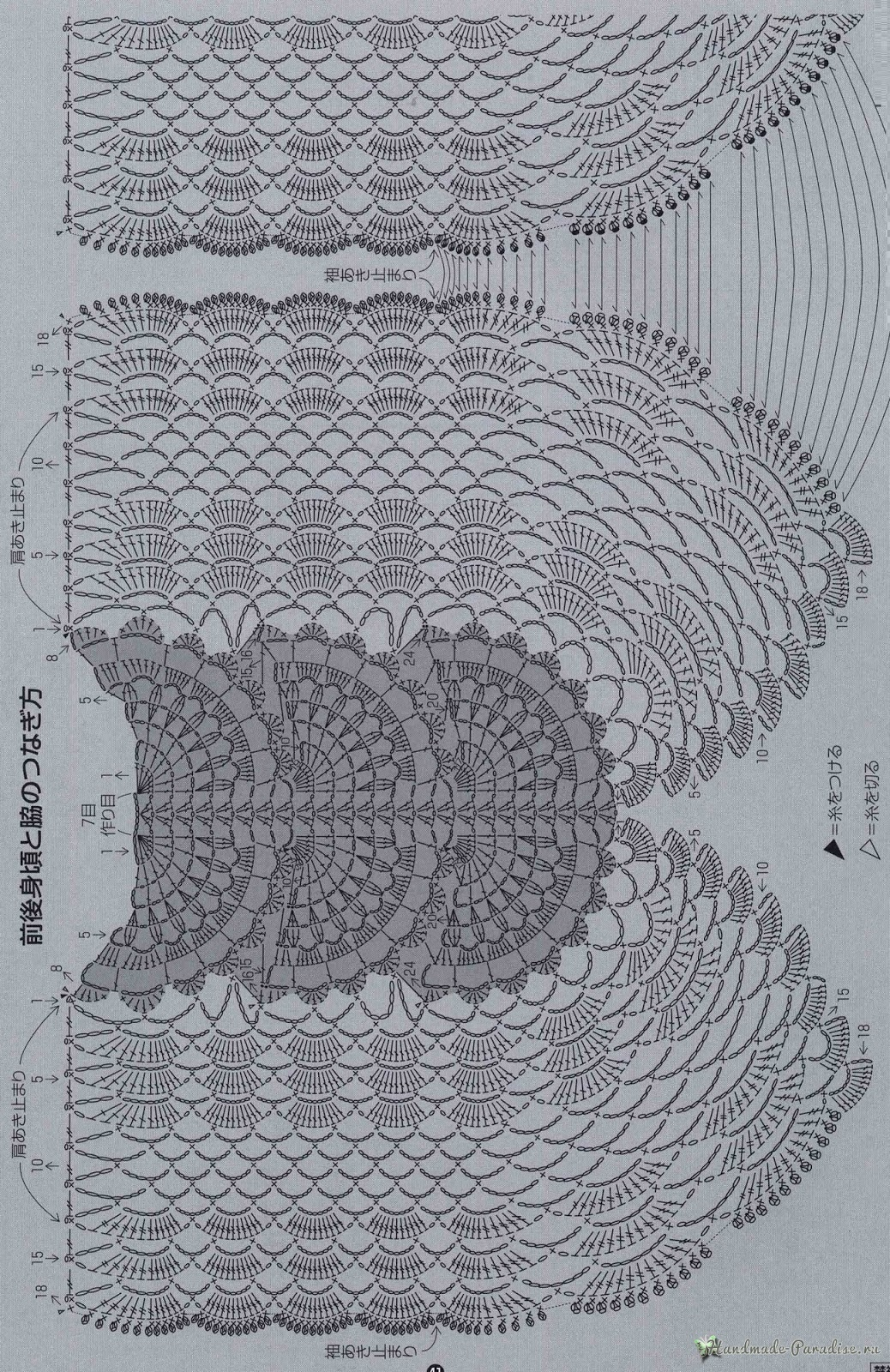 Нарядная блуза крючком. Схема вязания (3)
