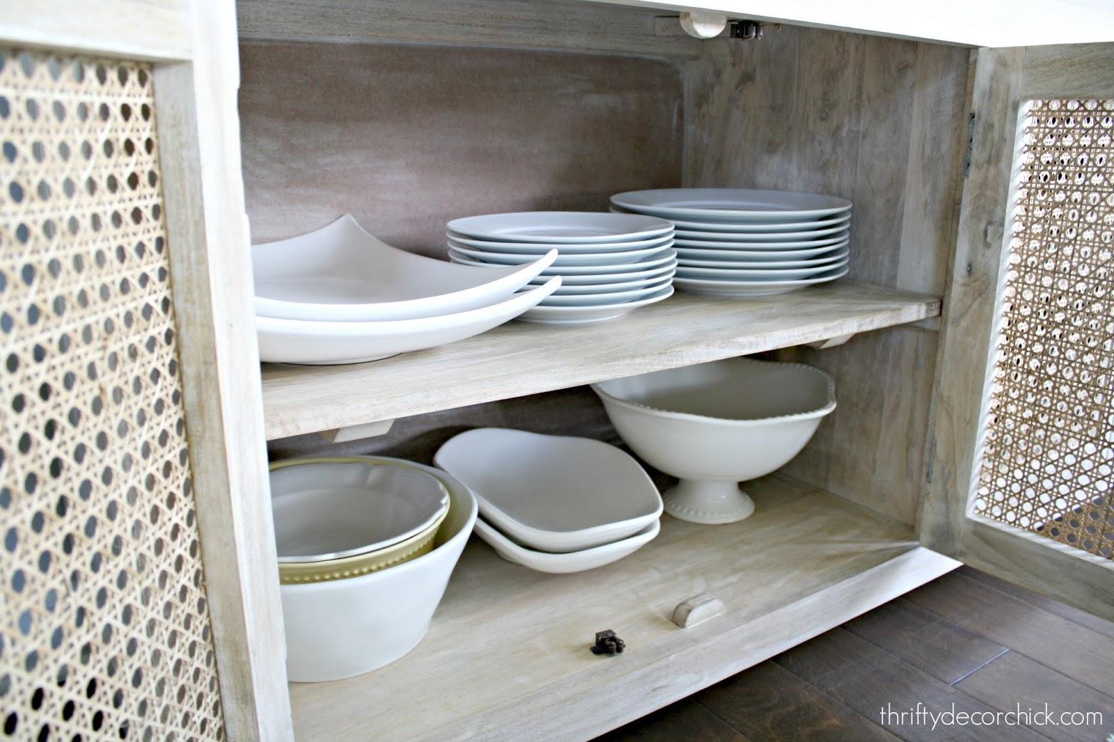 Decorative console storage in dining area