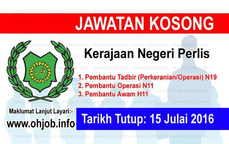 Jawatan Kerja Kosong Kerajaan Negeri Perlis logo www.ohjob.info julai 2016