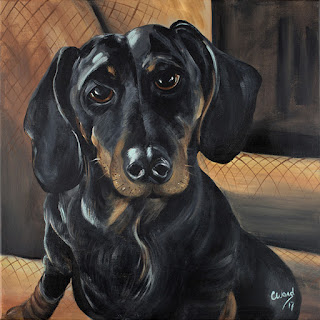Acrylic painting of dachsund by Chrystine Westphal