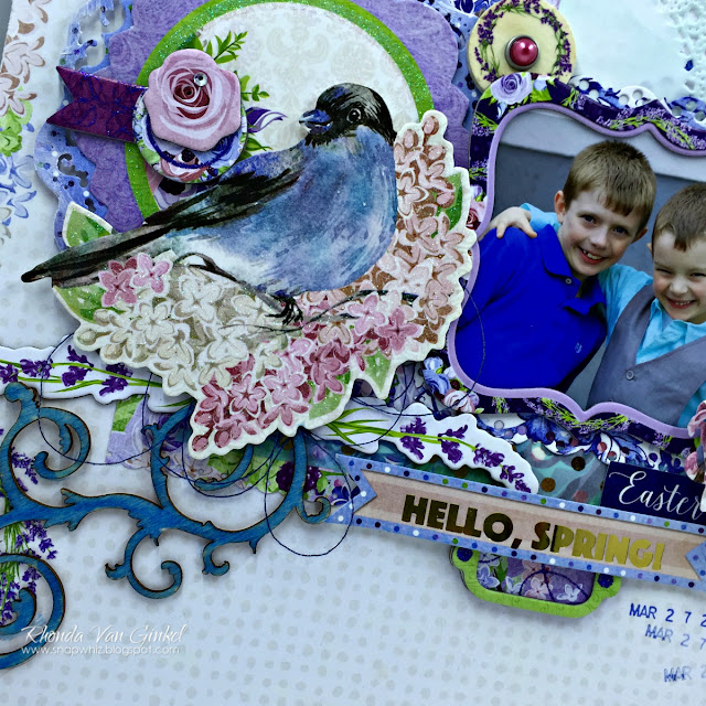 One Scrapbook Page Three Ways featuring BoBunny Secret Garden designed by Rhonda Van Ginkel - Advanced View