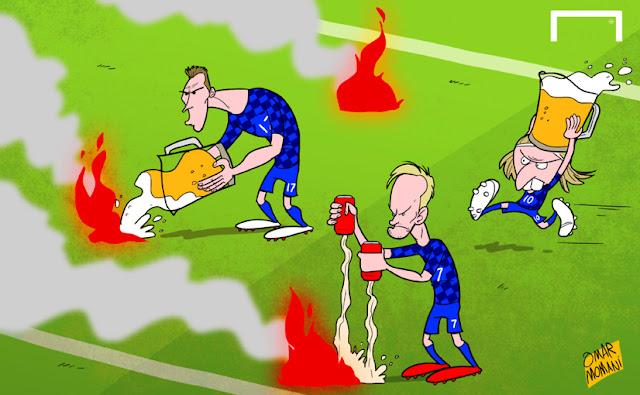 Mandzukic, Modric and Rakitic extinguishing fire