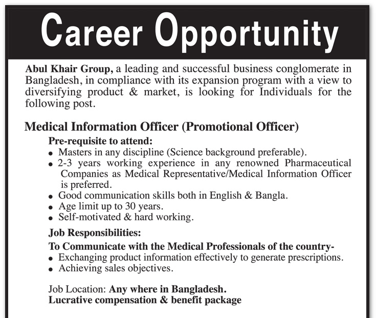 Career   Abul Khair Group   Position: Medical Information Officer  (Promotional Officer)