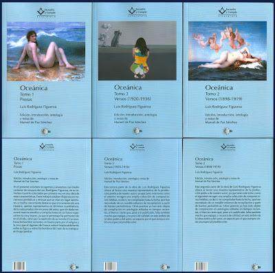 Cubiertas de Oceánica, de Luis Rodríguez Figueroa, con el óleo Mundo de Patricia Delgado