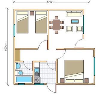 plano de Casas Prefabricadas Paine 48 metros cuadrados