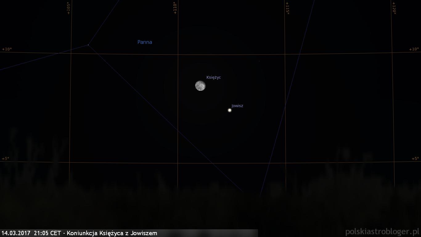 14.03.2017  21:05 CET - Koniunkcja Księżyca z Jowiszem