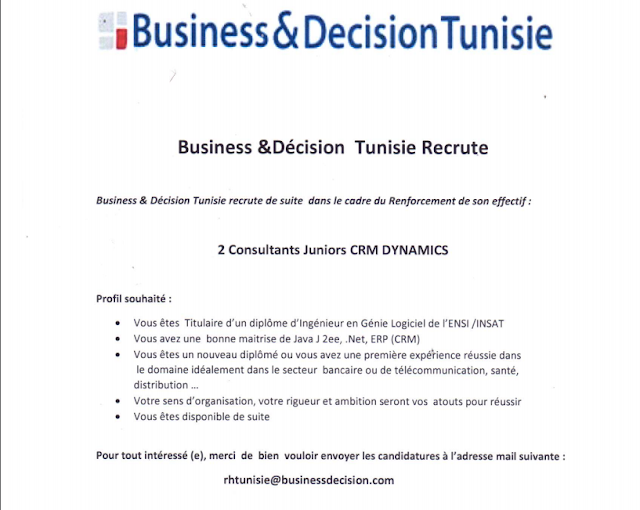 Business & Décision Tunisie Recrute