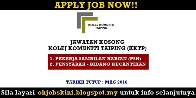 Jawatan Kosong Kolej Komuniti Taiping (KKTP)
