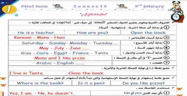 مذكرة لغة انجليزية Connect 3 الثالث الابتدائي ترم اول 2021 مستر صلاح عبد السلام