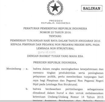 gambar PP tentang THR untuk pimpinan dan Pegawai Non PNS 2016