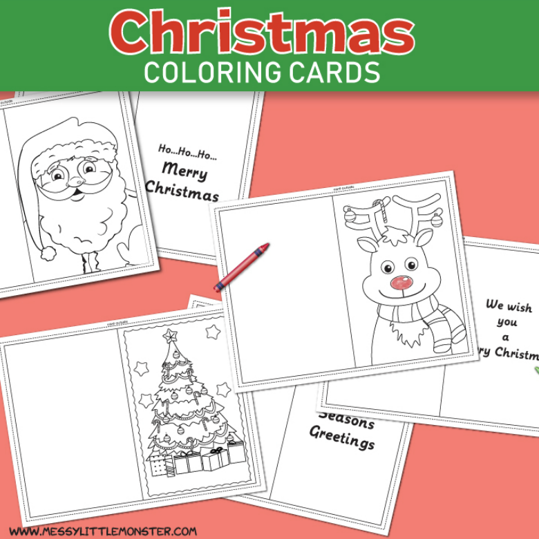 picture relating to Printable Christmas Cards for Kids referred to as Xmas coloring playing cards - Messy Minor Monster
