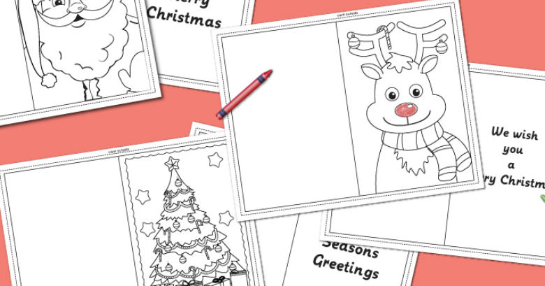 Christmas Coloring Cards Messy Little Monster