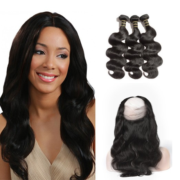 【Crystal 6A】 360 Lace Frontal Band with 3 Bundles Body Wavy 6A Brazilian Virgin Hair