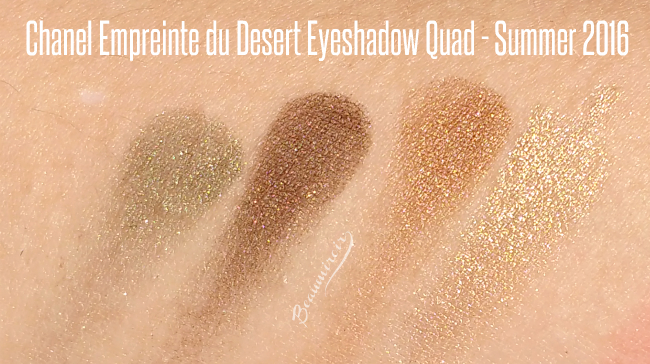 Swatches of Chanel Empreinte du Desert Eyeshadow quad